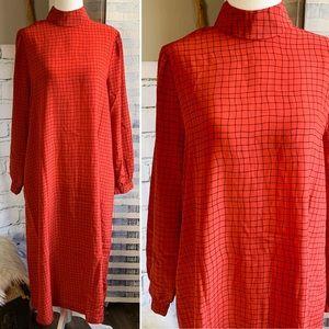 Vtg 70s Funky Red Trapeze Maxi Mock Neck Dress